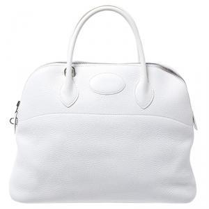 Hermes White Togo Leather Palladium Hardware Bolide 35 Bag