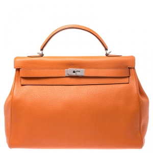 Hermes Bougainvillier Clemence Leather Palladium Hardware Kelly Retourne 40 Bag