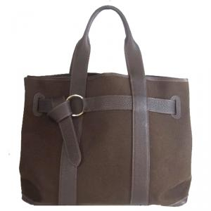 Hermes Dark Brown Canvas Leather MM Bag