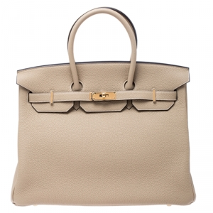 Hermes Trench Togo Leather Gold Hardware Birkin 35 Bag
