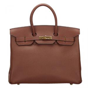 Hermes Terre Clemence Togo Leather Gold Hardware Birkin 35 Bag