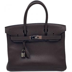 Hermes Chocolate Taurillon Clemence Leather Gold Hardware Birkin 30 Bag