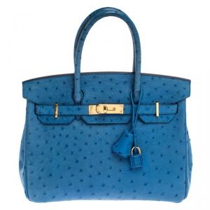Hermès Mykonos Blue Ostrich Gold Hardware Birkin 30 Bag