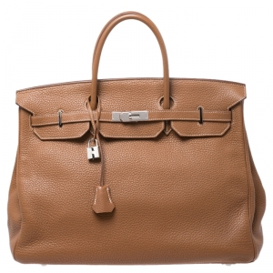 Hermes Gold Clemence Leather Palladium Hardware Birkin 40 Bag