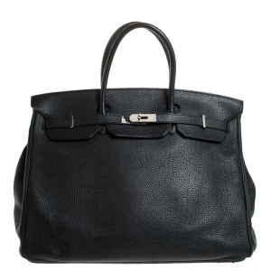 Hermes Black Togo Leather Silver Hardware Birkin 40 Bag
