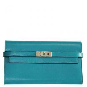 محفظة هيرمس كيلي كلاسيك جلد زرقاء