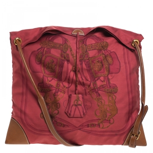 Hermes Maroon Bridge de Gala Silk and Leather MM Silky City Bag
