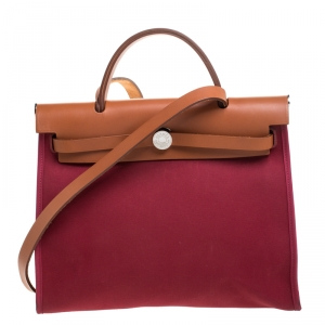 Hermes Burgundy Canvas and Leather Herbag Zip 31 Bag