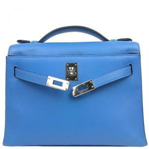 Hermes Blue Box Leather Palladium Hardware Kelly Pochette Bag