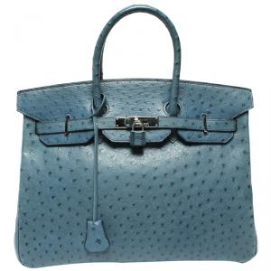 Hermes Blue Ostrich Leather Palladium Hardware Birkin 35 Bag