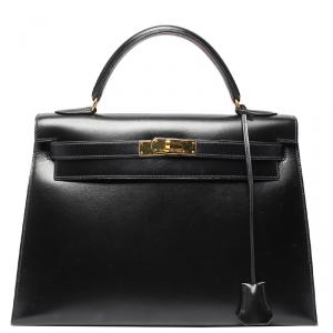 Hermes Black Box Calf Leather Gold Hardware Kelly 32 Bag