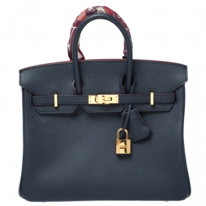 Hermes Blue Marine Epsom Leather Gold Hardware Birkin 25 Bag