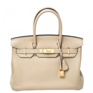 Hermes Beige Togo Leather Gold Hardware Birkin 30 Bag