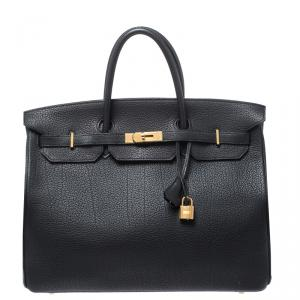 Hermes Black Fjord Leather Gold Hardware Birkin 40 Bag