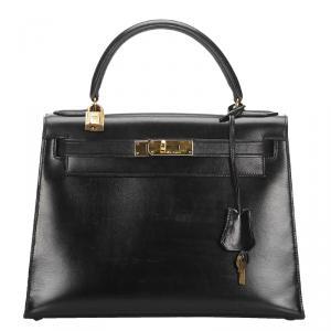 Hermes Black Leather Gold Hardware Kelly Retourne 28 Bag