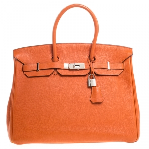 Hermes Orange Togo Leather Palladium Hardware Birkin 35 Bag