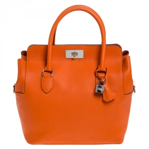 Hermes Orange Ever Color Leather Palladium Hardware Toolbox 26 Bag