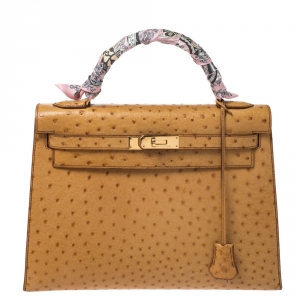 Hermes Natural Ostrich Gold Hardware Kelly Sellier 32 Bag