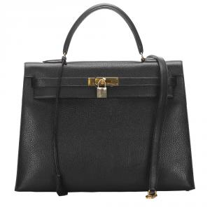 Hermes Black Clemence Leather Gold Hardware Kelly Sellier 35 Bag