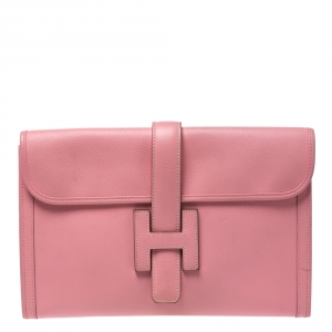 Hermes Rose Confetti Epsom Leather Jige PM Clutch