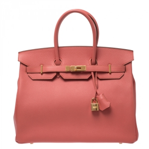Hermes Flamingo Epsom Leather Gold Hardware Birkin 35 Bag