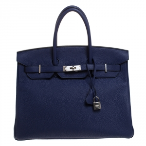 Hermes Blue Saphir Clemence Leather Palladium Hardware Birkin 35 Bag