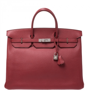 Hermes Rouge Vif Vache Liegee Leather Palladium Hardware Birkin 40 Bag