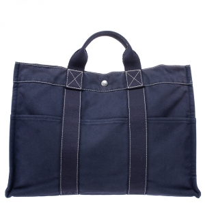 Hermes Dark Blue Canvas Deauville MM Bag