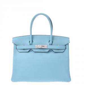 Hermes Blue Atour Leather Palladium Hardware Birkin 30 Bag