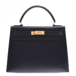 Hermes Black Calf Leather Gold Hardware Kelly Retourne 28 Bag