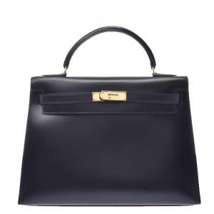 Hermes Black Calf Leather Gold Hardware Kelly 32 Bag
