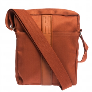 Hermes Orange Toile Canvas and Leather Acapulco Messenger Bag