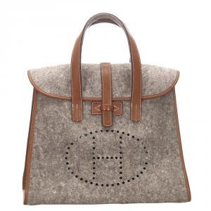 Hermes Gray/Brown Wool Feu2Dou Tote Bag