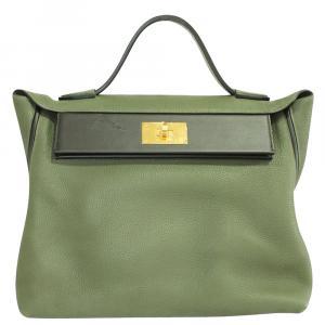 Hermes Oliver Green Togo and Swift Leather 24/24 35 Bag