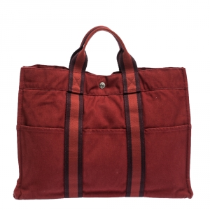 Hermes Red Canvas Fourre Tout Tote