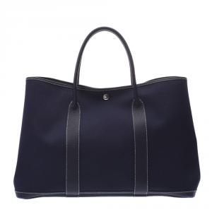 Hermes Navy Blue Toile Leather Garden Party GM Bag