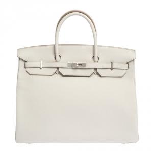 Hermes Gris Perle Togo Leather Palladium Hardware Birkin 35 Bag