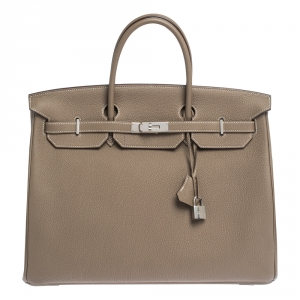 Hermes Etoupe Grey Togo Leather Palladium Hardware Birkin 40 Bag