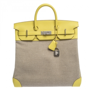 Hermes Soufre/Beige Canvas and Leather Palladium Hardware HAC Birkin 40 Bag
