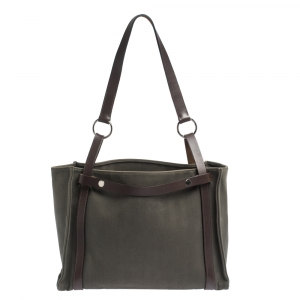 Hermes Green Canvas and Vache Hunter Leather Cabalicol Bag