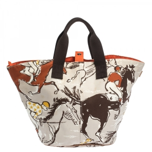 Hermes Multicolor Printed Canvas and Leather Finish Beach Bag