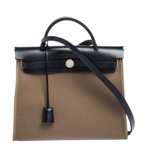 Hermes Blue Nuit/Khaki Canvas and Leather Herbag Zip 31 Bag