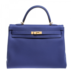 Hermes Blue Encre Evercolor Leather Gold Hardware Kelly Retourne 35 Bag