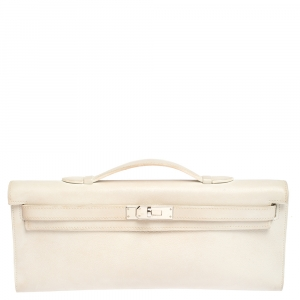 Hermes White Swift Leather Palladium Hardware Kelly Cut Clutch