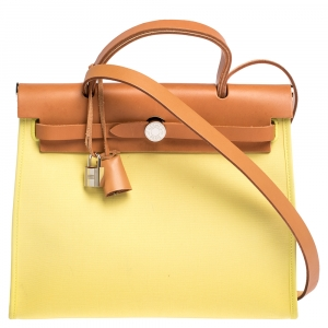 Hermes Natural/Soufre Canvas and Leather Herbag Zip 31 Bag