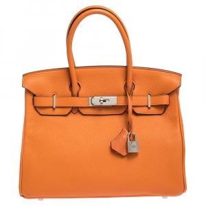 """حقيبة هيرمس """"بيركين 30"""" بإكسسوار بالاديوم و جلد توغو برتقالي"""