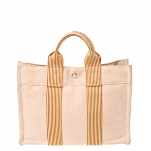 Hermes Orange/White Canvas Fourre Tout PM Bag