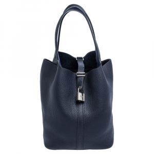 Hermes Blue Nuit Togo Leather Picotin Lock MM Bag