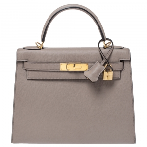 Hermes Gris Asphalte Epsom Leather Gold Hardware Kelly Sellier 28 Bag