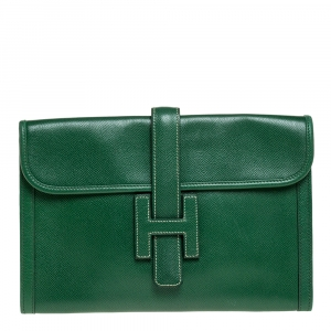 Hermes Cactus Courchevel Leather Jige PM Clutch